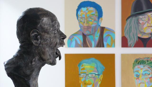 Kopf von Bernd Streiter und Porträts von Gerhild Grolitsch
